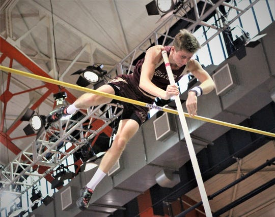 Louis Logsdail of Iona Prep clears the bar during the boys pole vault at the 2019 Hispanic Games. He finished second with a 14-6 vault.