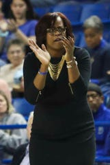 Delaware head coach Natasha Adair works in the first half of the Hens' opening game in CAA play against James Madison at the Bob Carpenter Center Friday.