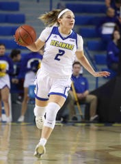 Delaware's Abby Gonzales brings the ball up the court.