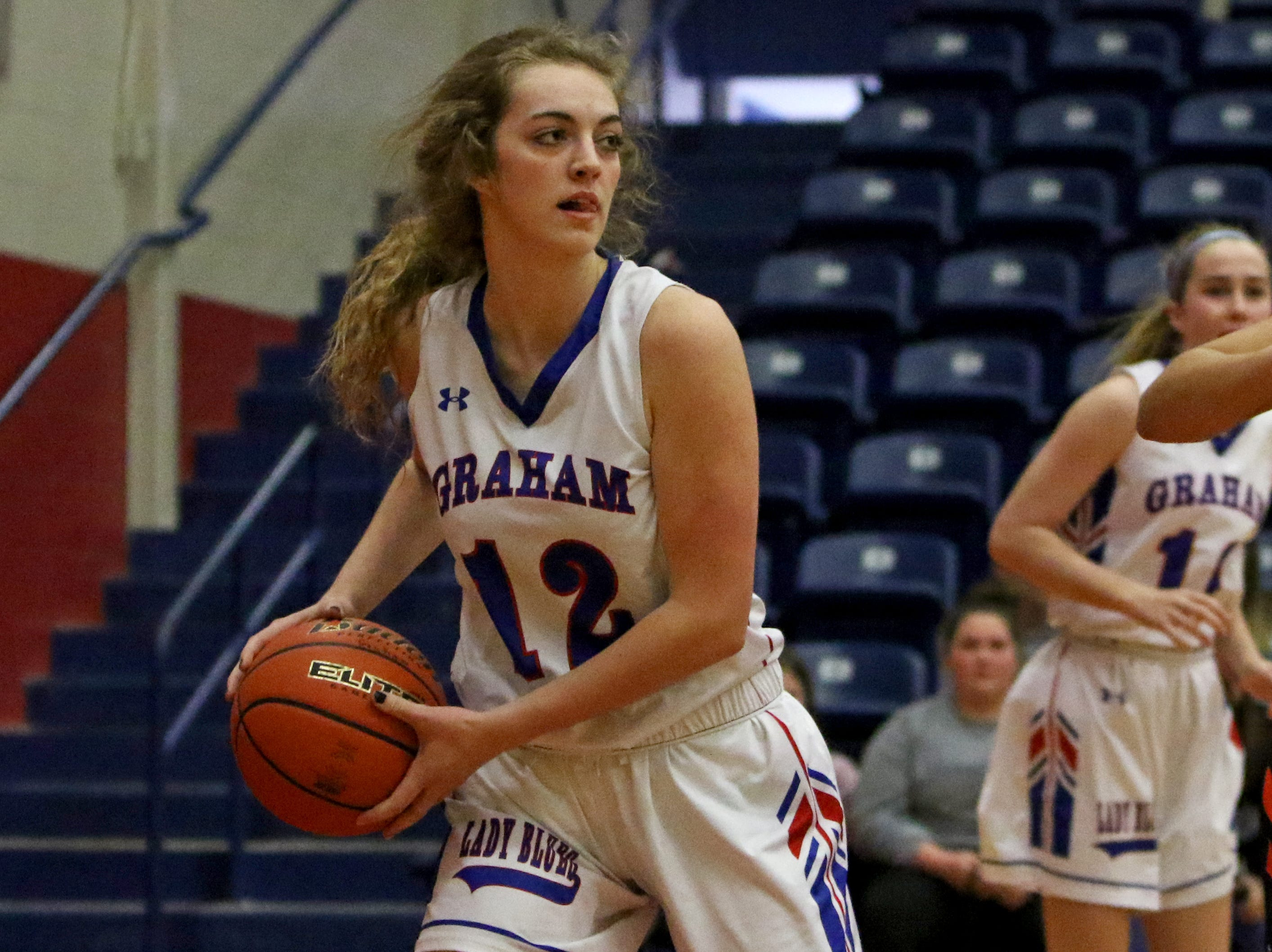 Graham's Emma Ranger looks for an open teammate in the game against Burkburnett Friday, Jan. 4, 2019, in Graham. The Lady Blues defeated the Lady Bulldogs 51-33.