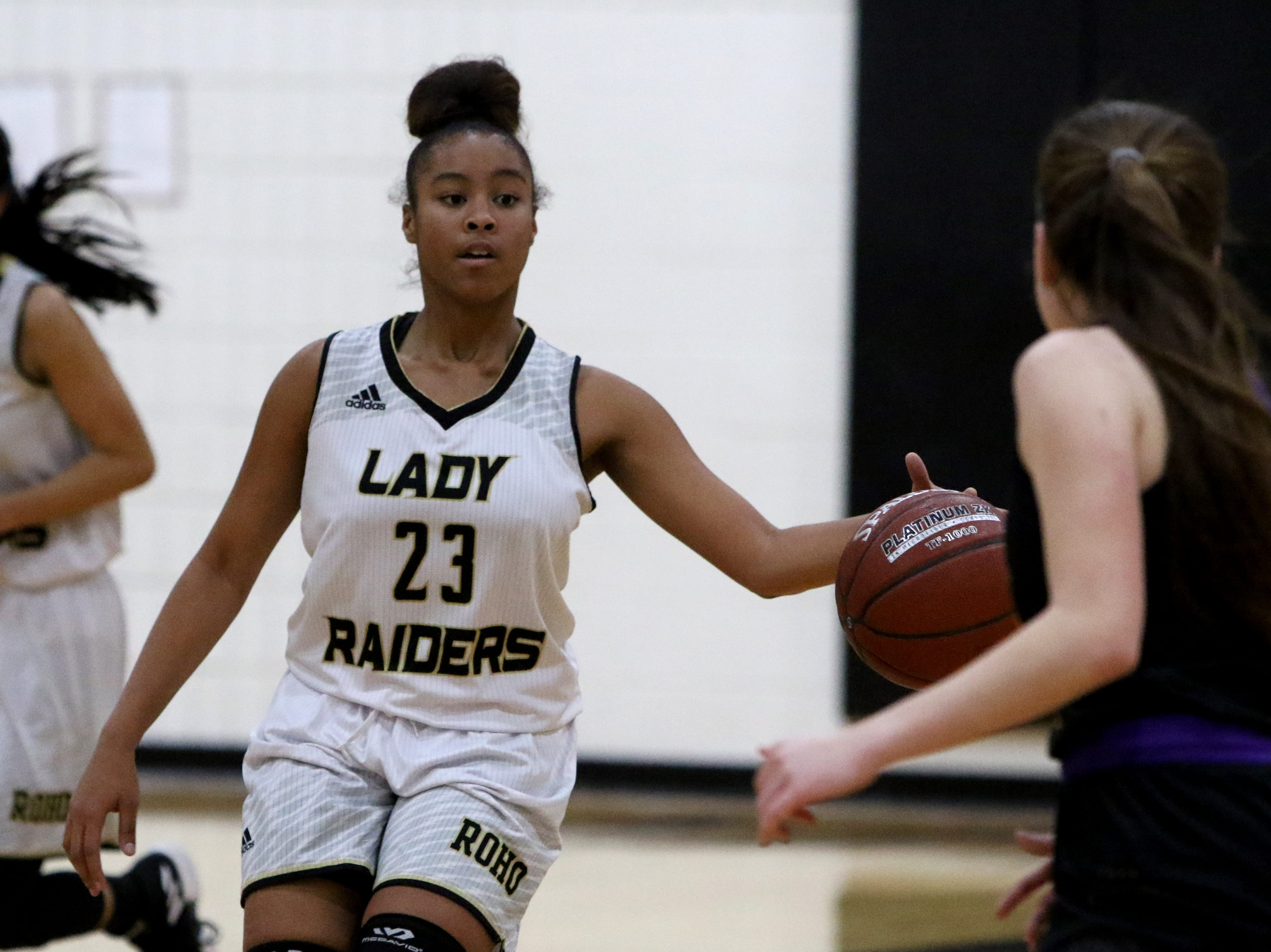 Rider's Taleyah Jones dribbles in the game against Abilene Wylie Friday, Jan. 4, 2019 at McNiel Middle School.