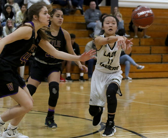Rider's Steffanie Mock passes in the game against Abilene Wylie Friday, Jan. 4, 2019 at McNiel Middle School.