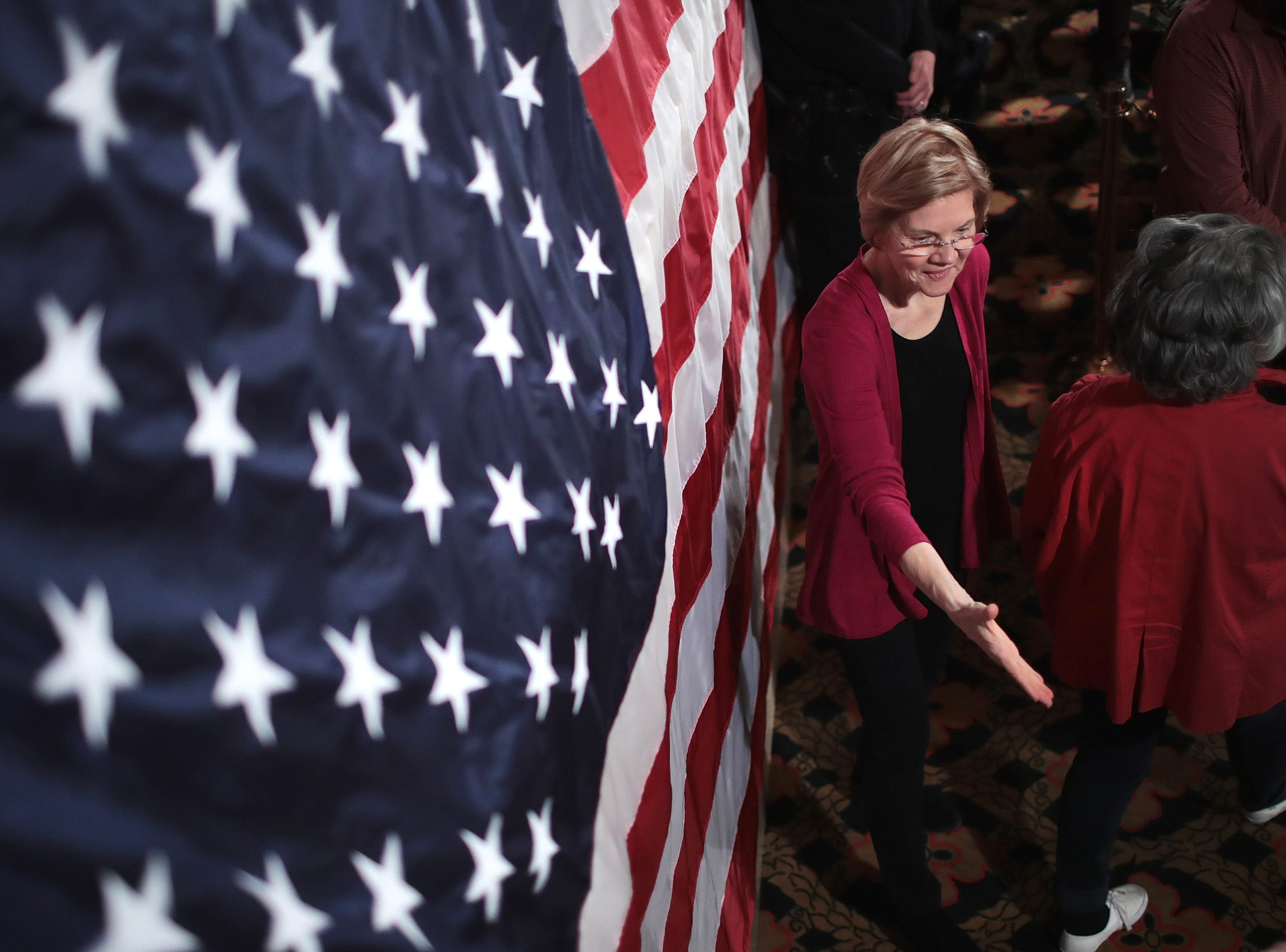 Sen. Elizabeth Warren (D-MA) greets guests during an organizing event at the Orpheum Theater on January 5, 2019 in Sioux City, Iowa.