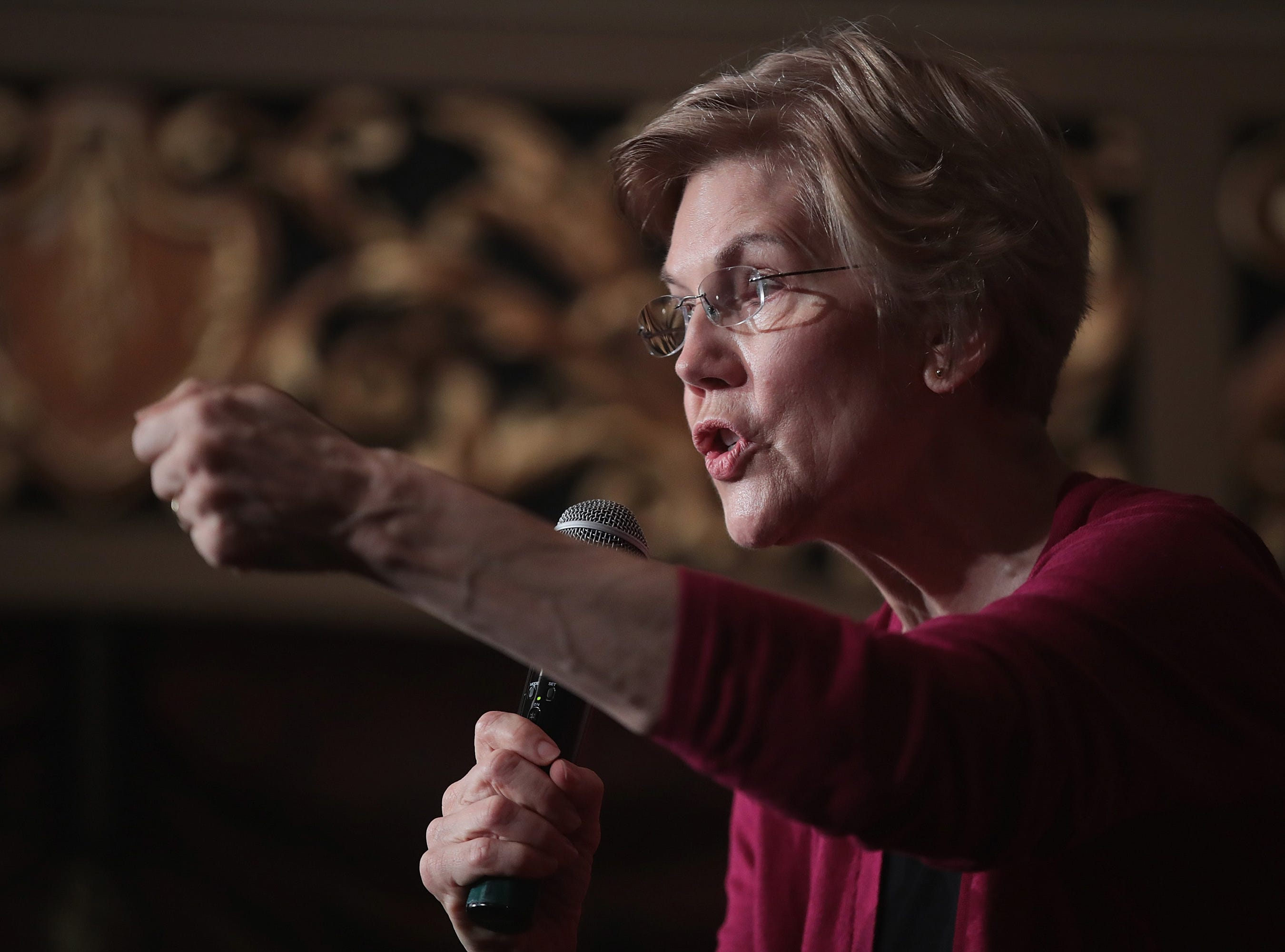 Sen. Elizabeth Warren (D-MA) speaks to guests during an organizing event at the Orpheum Theater on Jan. 5, 2019 in Sioux City, Iowa. Warren announced on December 31 that she was forming an exploratory committee for the 2020 presidential race.