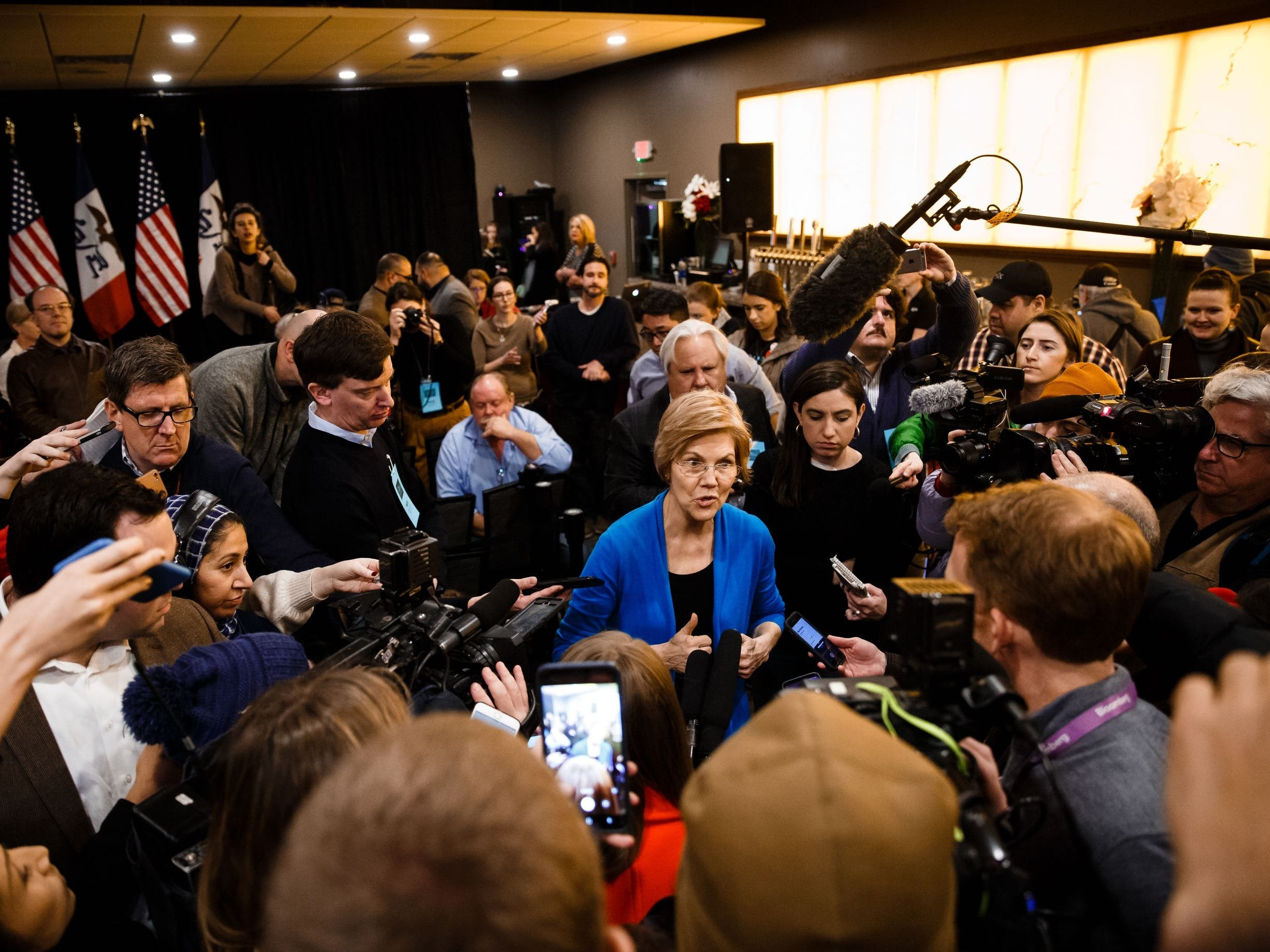 Sen. Elizabeth Warren (D-MA) speaks  with members of the press during an event in Council Bluffs.