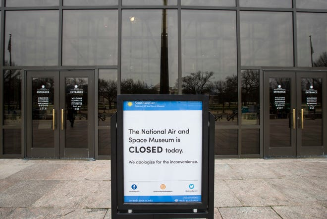 The Smithsonian Institution National Air and Space Museum is closed during the partial government shutdown, Friday, Jan. 4, 2019 in Washington.