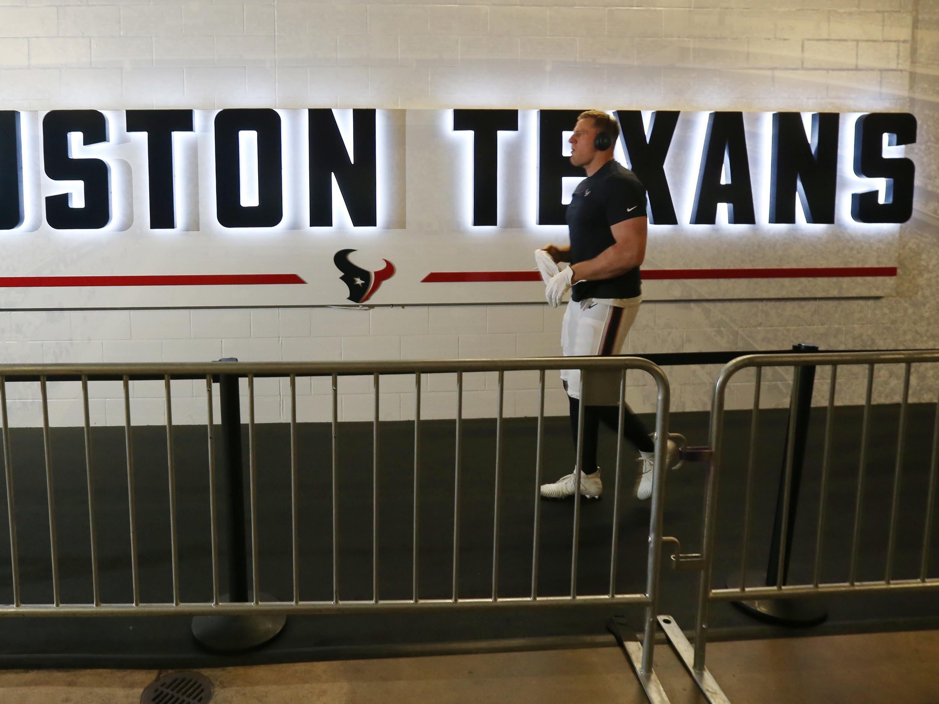 Jan 5, 2019; Houston, TX, USA; Houston Texans defensive end J.J. Watt heads out to the field before a AFC Wild Card playoff football game against the Indianapolis Colts at NRG Stadium. Mandatory Credit: Thomas B. Shea-USA TODAY Sports ORG XMIT: USATSI-400674 ORIG FILE ID:  20190105_jel_sy9_006.jpg