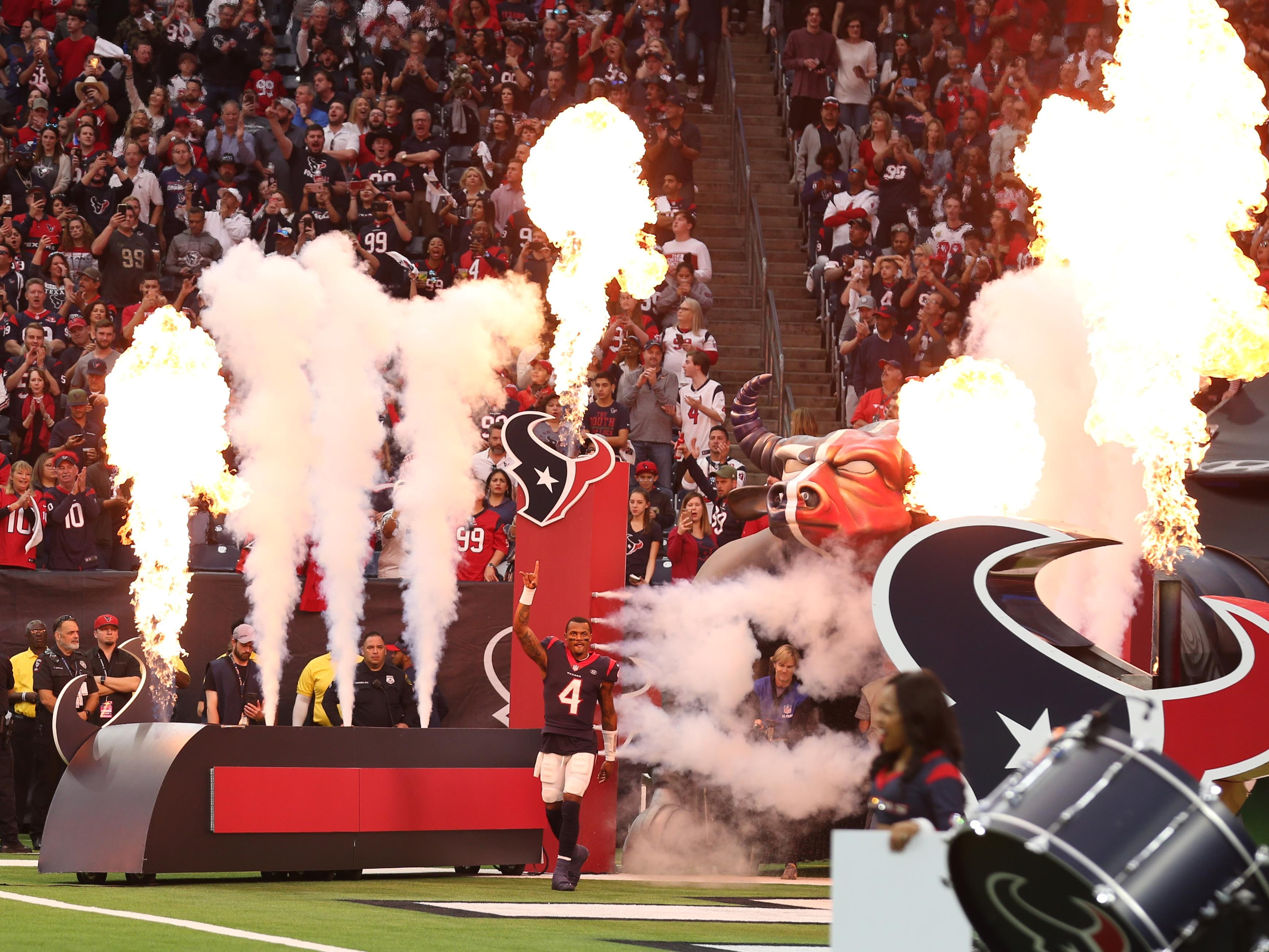 Houston Texans quarterback Deshaun Watson (4) is introduced before a AFC Wild Card playoff football game against the Indianapolis Colts at NRG Stadium.