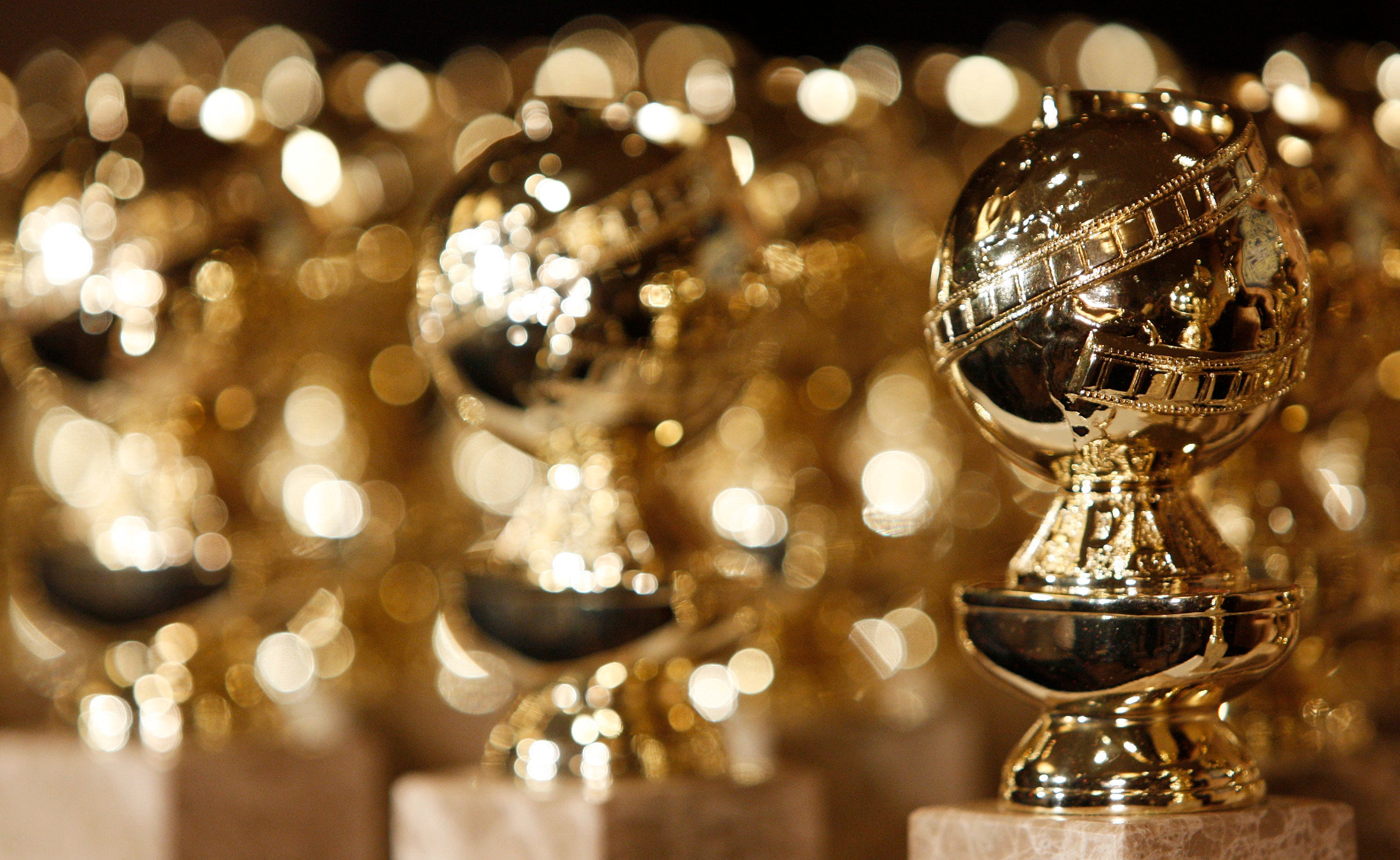 Golden Globe statuettes are displayed during a news conference in Beverly Hills, California.