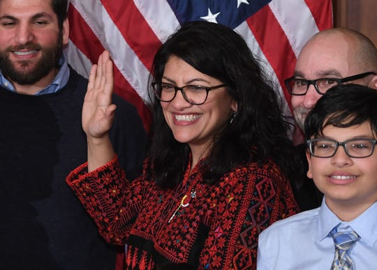 US House Representative Rashida Tlaib participates in a ceremonial swearing-in at the start of the 116th Congress at the US Capitol in Washington, DC.