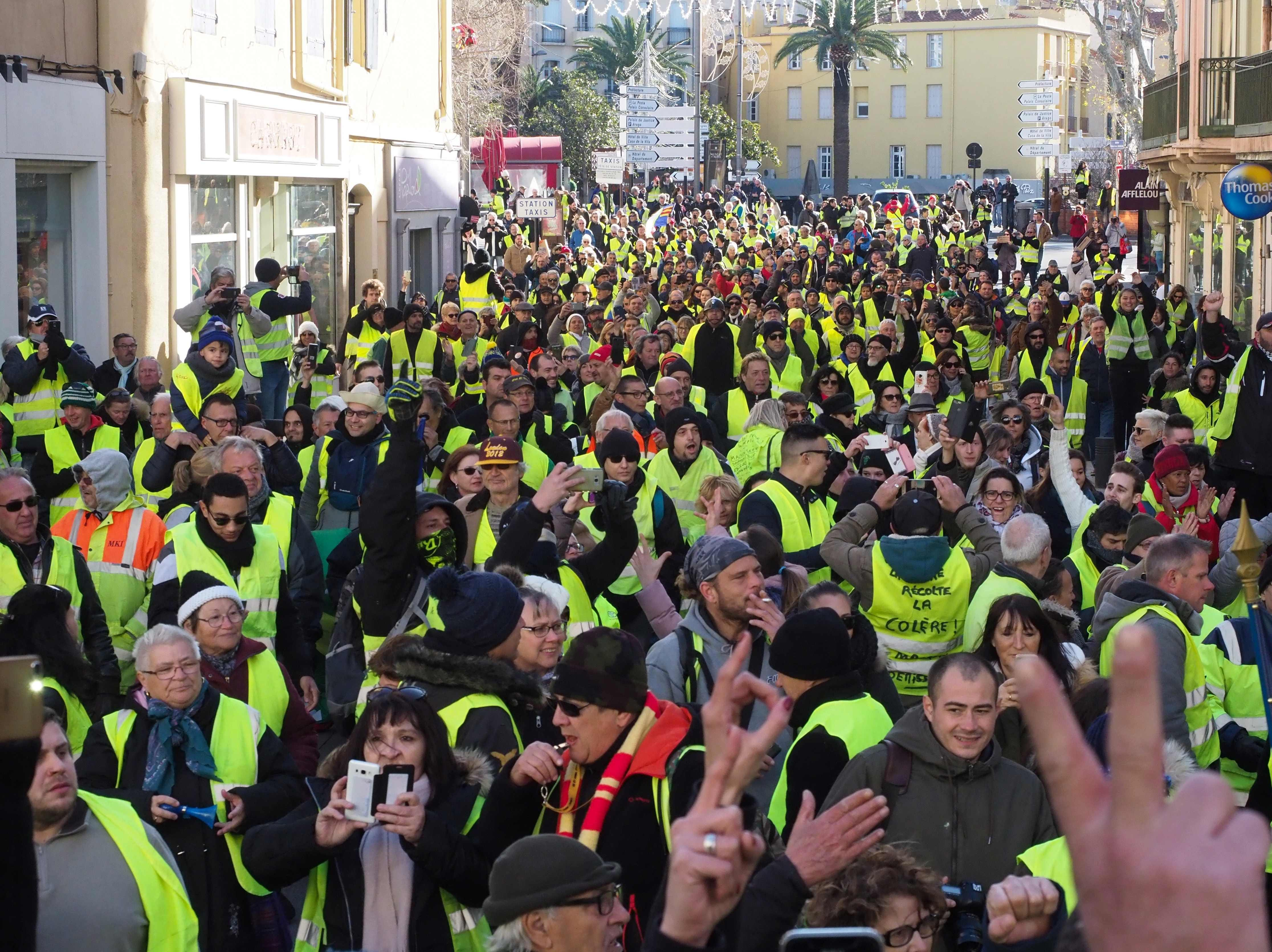 "Yellow vest protestors demonstrate in the streets of Perpignan, southern France, on Jan. 5, 2019, during a rally by yellow vest ""Gilets Jaunes"" anti-government protestors."