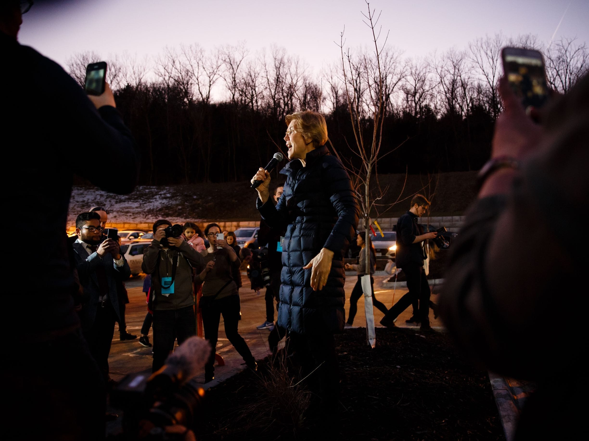 Sen. Elizabeth Warren (D-MA) speaks to the overflow crowd during an event on her first trip through Iowa as a possible 2020 presidential candidate on Friday, Jan. 4, 2019, in Council Bluffs.