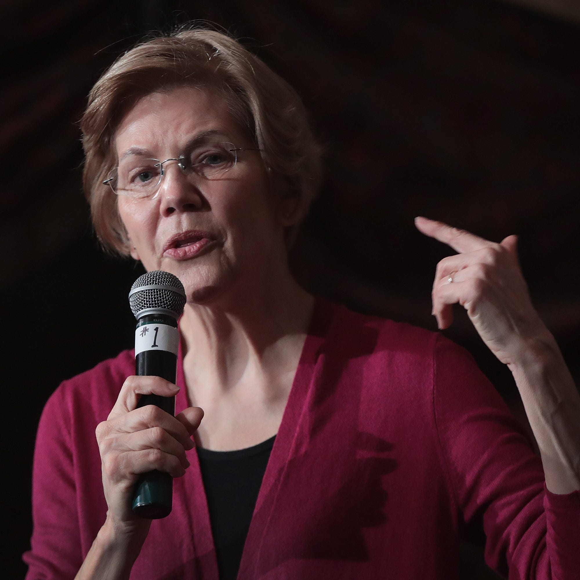 Sen. Elizabeth Warren (D-MA) speaks to guests during an organizing event at the Orpheum Theater on Jan. 5, 2019 in Sioux City, Iowa.