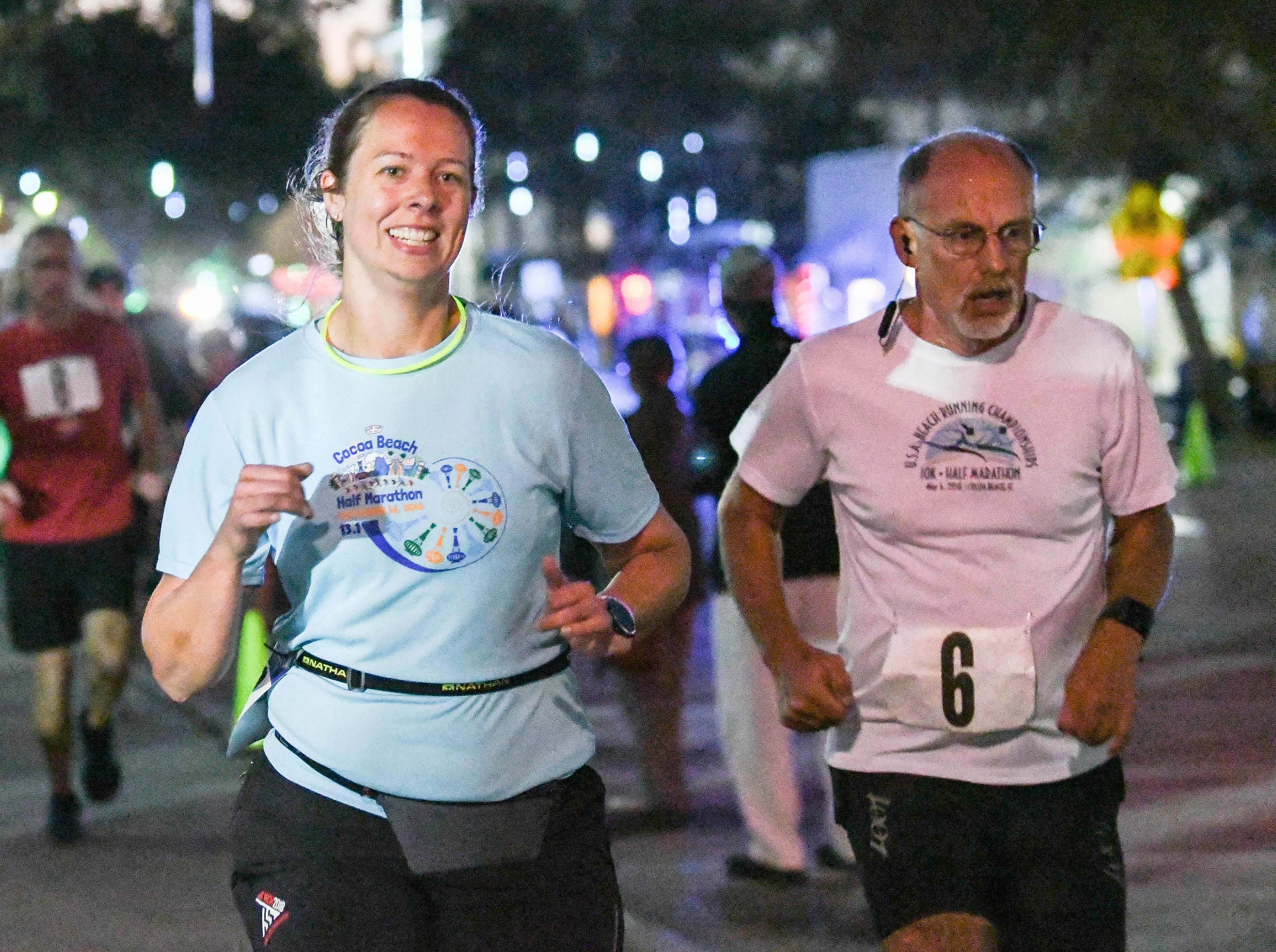 Participants in the inaugural Game On Run for Responders 5K Run/Walk run through the streets of Cocoa Village during Saturday's event.  Proceeds from the event benefit Survive First.