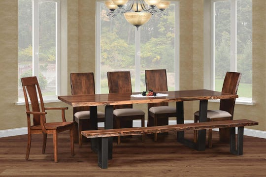Amish-built wooden furniture can  be  modern, as this set from Affinity Furniture's Abbington collection  demonstrates. Affinity of Clarksboro will showcase its indoor and outdoor furnishings at the Philadelphia Home Show.