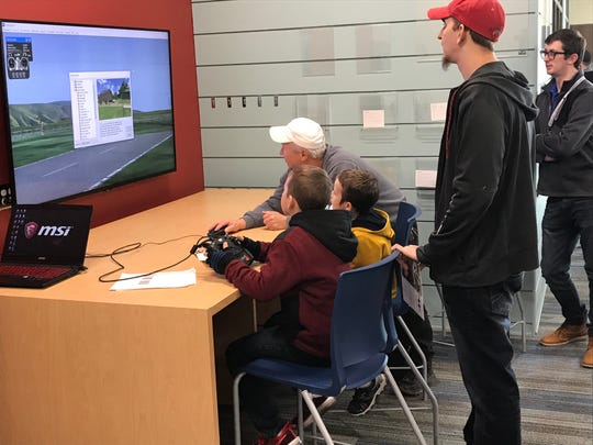 A flight simulator was set up in the media center of the new Chillicothe Intermediate School for Sunday's dedication of the building.