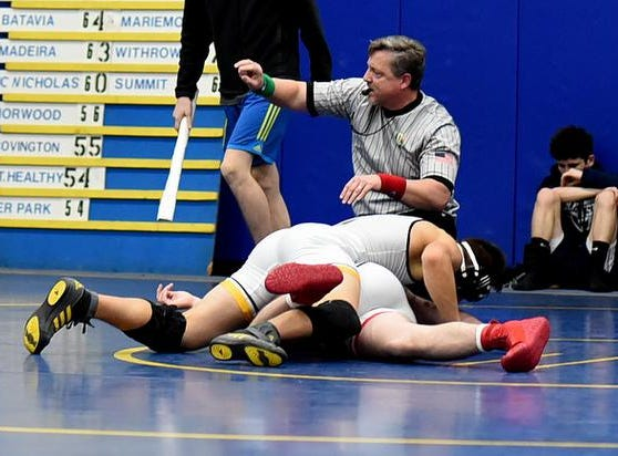 Joshua Chapman of Taylor collects a 10-4 decision to claim 3rd place in the 160lb class at the 2019 Bob Kearns Madeira Invitational, January 5, 2019.