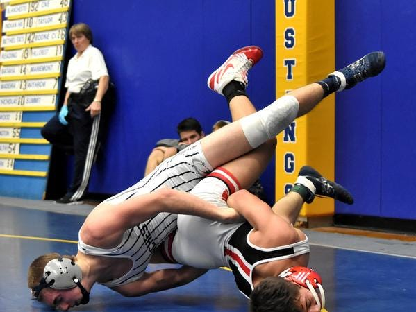 Andrew Fraump of Blanchester pulls Harris Foad into his control onhis way to a 3rd place finish in the 132lb class at the 2019 Bob Kearns Madeira Invitational, January 5, 2019.
