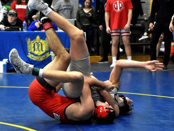 Chad Jarvis of Goshen falls to Nazar Abbas of Point Pleasant of WVa in the 170lb, 3rd place bout at the 2019 Bob Kearns Madeira Invitational, January 5, 2019.