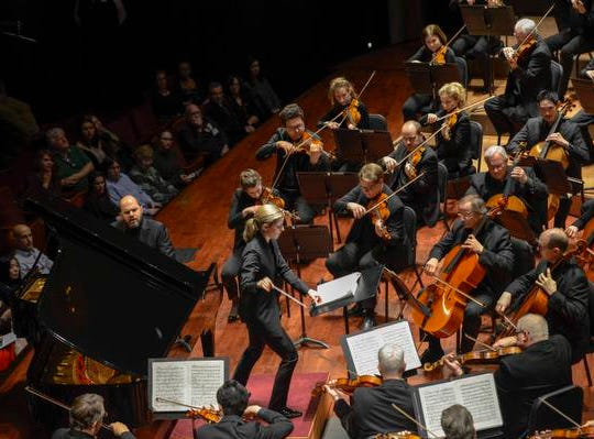 "A night out at Music Hall with the CSO.  Guest conductor Karina Canellakis returned to Music Hall to lead the CSO in a ""Romantic Rachmaninoff"" program that featured pianist Kirill Gerstein performing the composer's Piano Concerto No. 3."