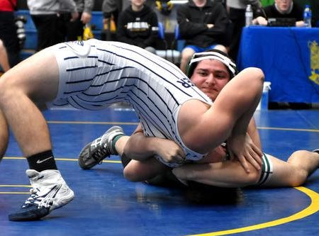 Issac Hatter of Batavia pins Blanchester's Christian Stubbs to claim 3rd place in the 195lb class at the 2019 Bob Kearns Madeira Invitational, January 5, 2019.