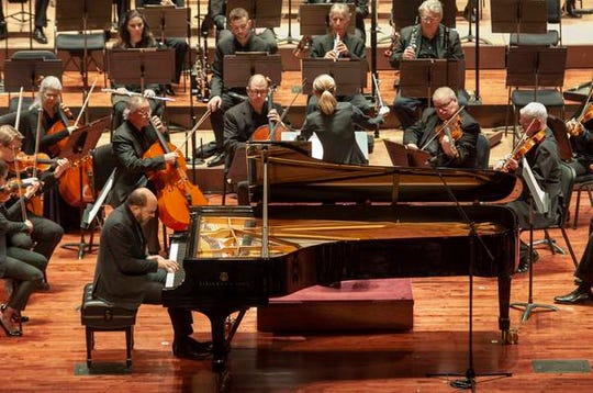 "Guest conductor Karina Canellakis returned to Music Hall to lead the Cincinnati Symphony Orchestra in a ""Romantic Rachmaninoff"" program that featured pianist Kirill Gerstein performing the composer's Piano Concerto No. 3."