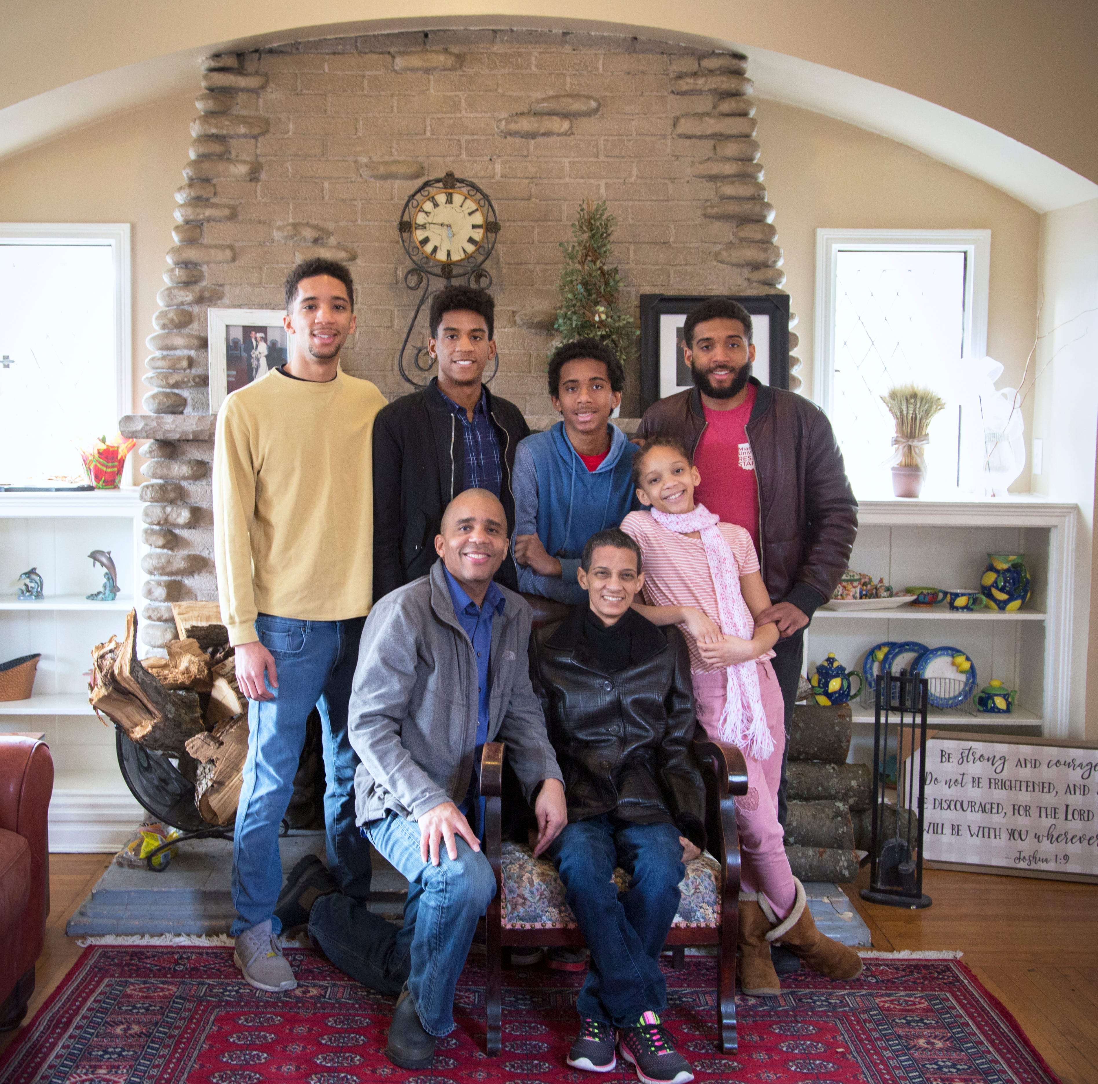 Cincinnati Vice Mayor Christopher Smitherman and his wife of 29 years, Pamela, with their children at their home in North Avondale. Pamela has been battling cancer for the past two years. Their children (L-R) Malcolm, Isaac, Caleb, Camille and Christopher Jr.