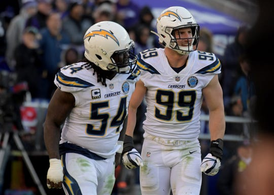 Los Angeles Chargers defensive end Joey Bosa (right) and defensive end Melvin Ingram (left) celebrate together against the Baltimore Ravens during an AFC Wild Card playoff football game at M&T Bank Stadium.