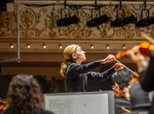 "A night out at Music Hall with the CSO.  Guest conductor Karina Canellakis returned to Music Hall to lead the CSO in a ""Romantic Rachmaninoff"" program that featured pianist Kirill Gerstein performing the composer's Piano Concerto No. 3. Guest Conductor Karina Canellakis."