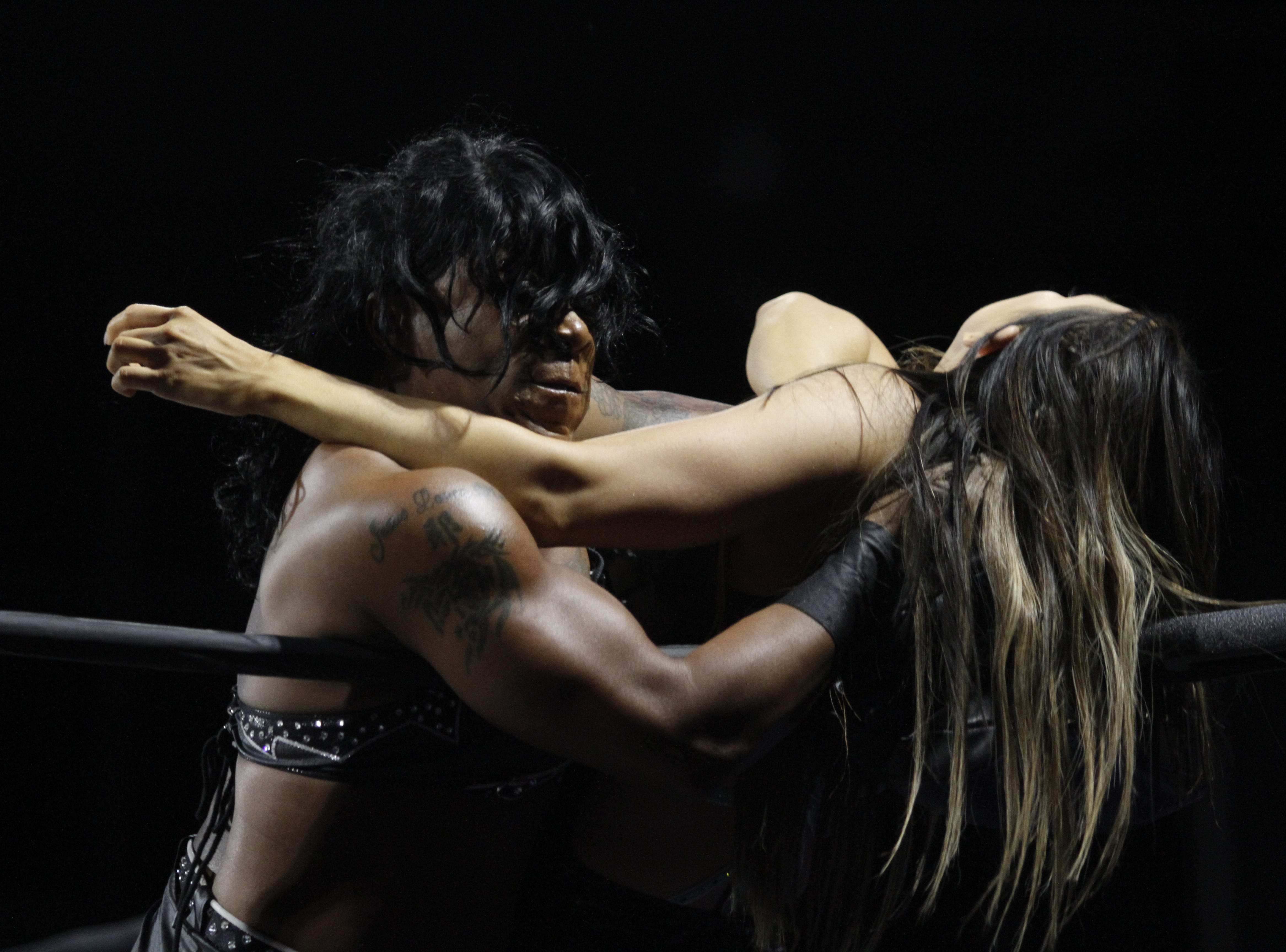NWA Women's Champion Jazz defends her title against Allie during the National Wrestling Alliance Pop-Up Event at the Wilma Rudolph Event Center Saturday, Jan. 5, 2019, in Clarksville, Tenn.