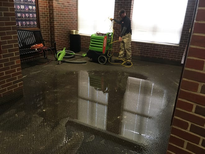 A burst water pipe caused significant damage to the Montgomery County Courthouse on Sunday.