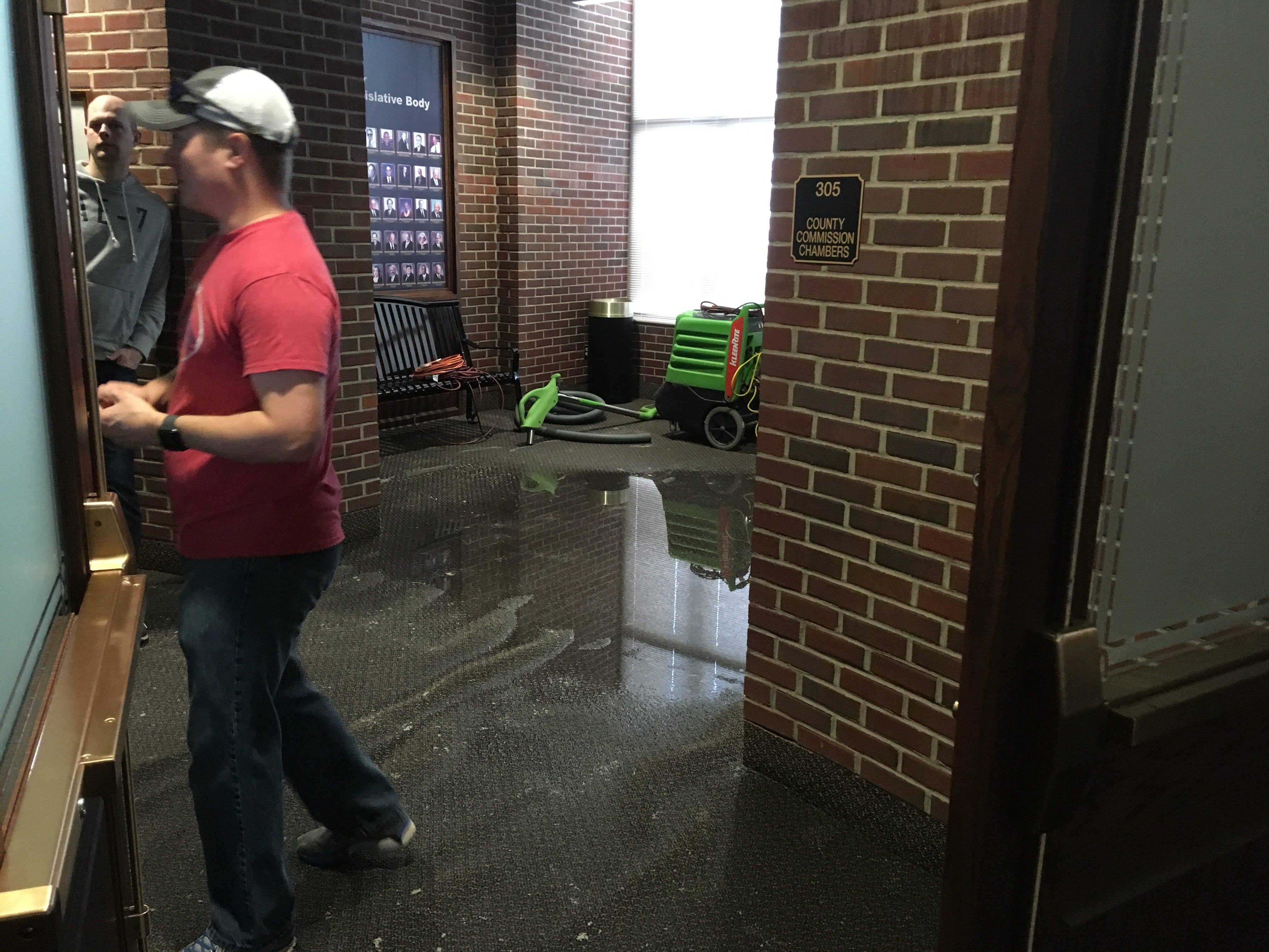 A burst water pipe caused significant damage to the Montgomery County Courthouse on Sunday, Jan. 6, 2019.