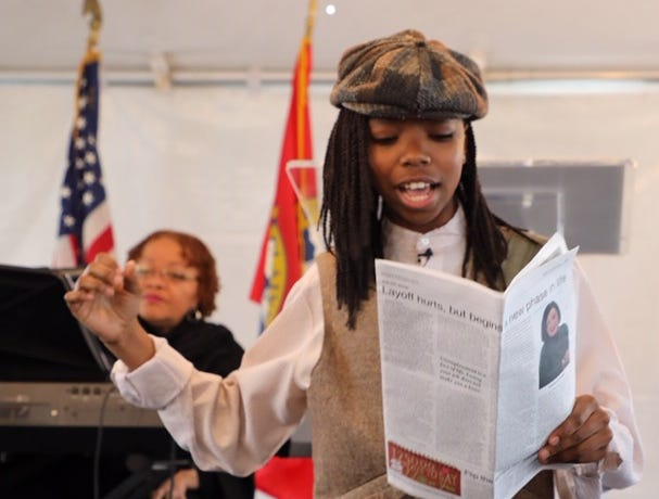 Chelsea Young, a ninth grader at Plainfield High School and president of the freshman class, began festivities Saturday as the town crier during a celebration marking the 100th anniversary of Plainfield City Hall. The event also kicked-off a year-long celebration that will mark the 150th Anniversary of the city. The city became a township on April 5, 1847.