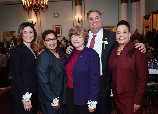 Union County Freeholders Kimberly Palmieri-Mouded (left to right), Rebecca Williams, Freeholder Chair Bette Jane Kowalski, Freeholder Vice Chairman Alexander Mirabella and Freeholder Andrea Staten pose during the Union County Annual Reorganization at the County Courthouse in Elizabeth Sunday, Jan. 6.