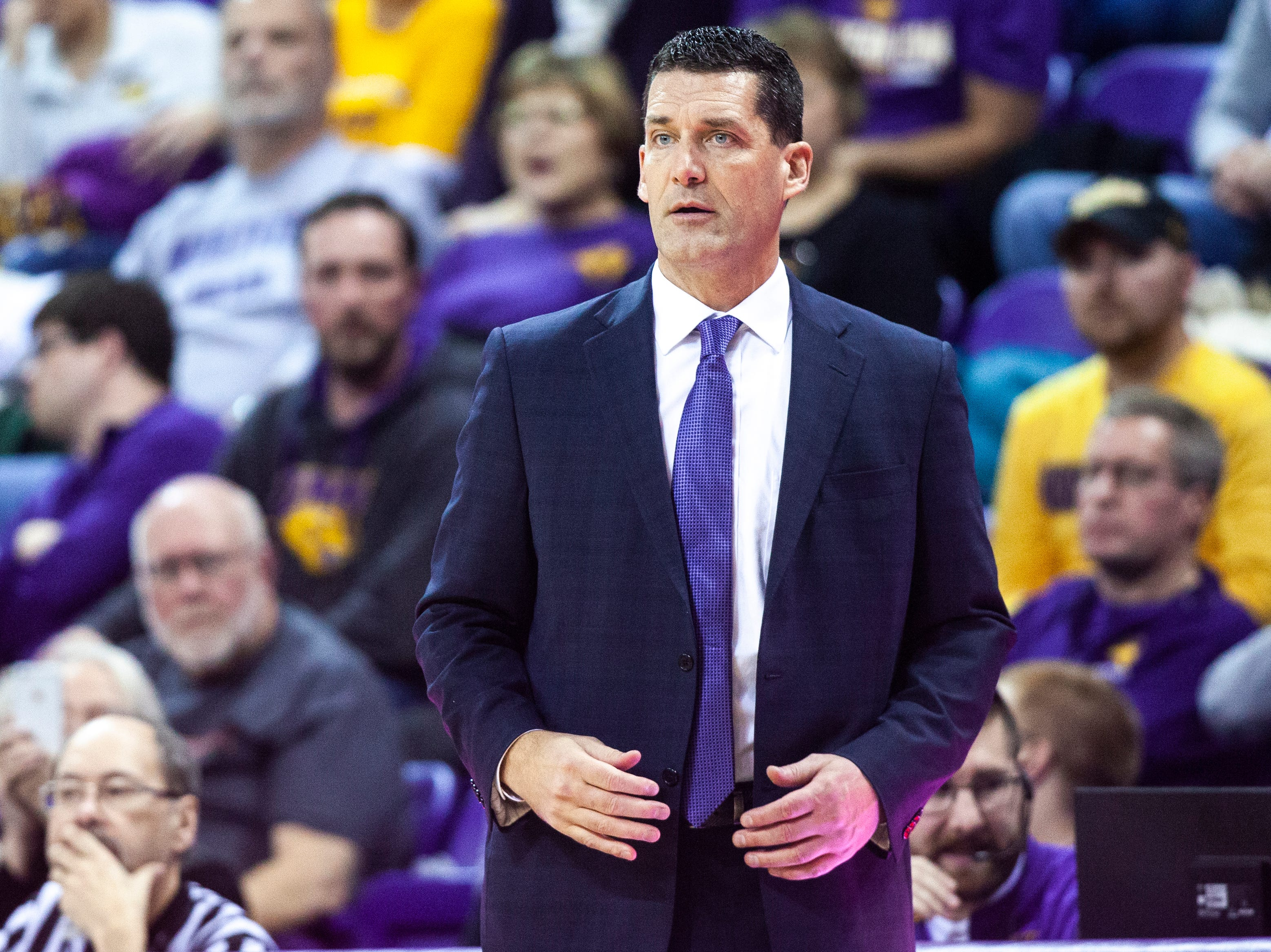 Northern Iowa head coach Ben Jacobson looks on during a NCAA Missouri Valley Conference men's basketball game on Saturday, Jan. 5, 2019, at the McLeod Center in Cedar Falls, Iowa.