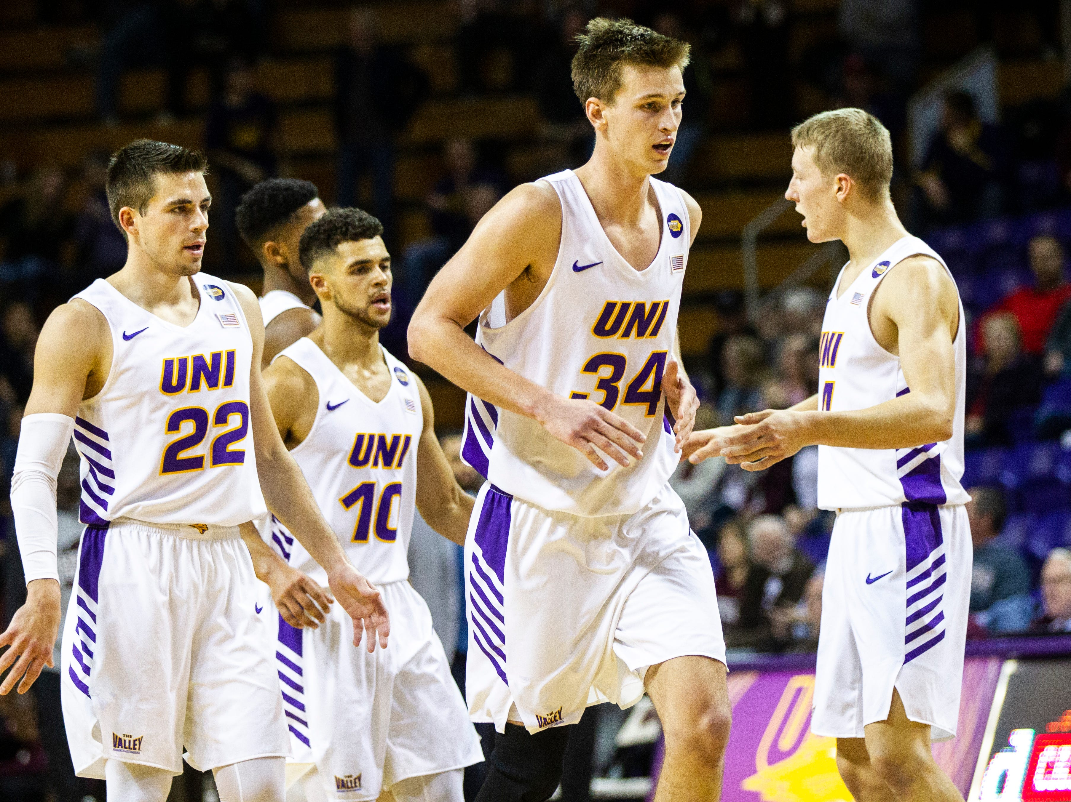 Northern Iowa forward Luke McDonnell (34) runs off the court at the end of the first half during a NCAA Missouri Valley Conference men's basketball game on Saturday, Jan. 5, 2019, at the McLeod Center in Cedar Falls, Iowa.