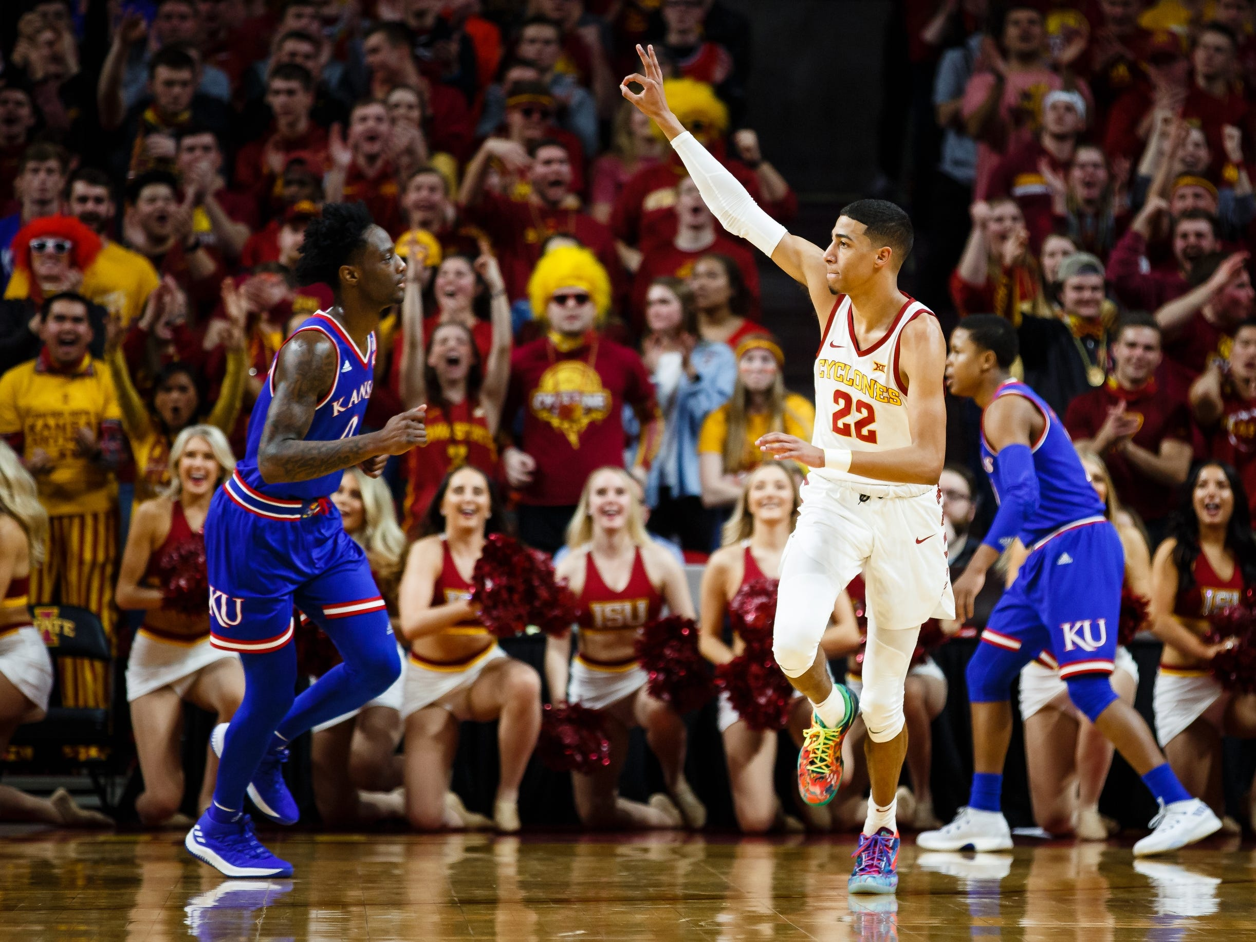 Iowa State's Tyrese Haliburton (22) reacts after a 3 point shot during the first half of their basketball game on Saturday, Jan. 5, 2019, in Ames. Iowa State would go on to win 77-60.