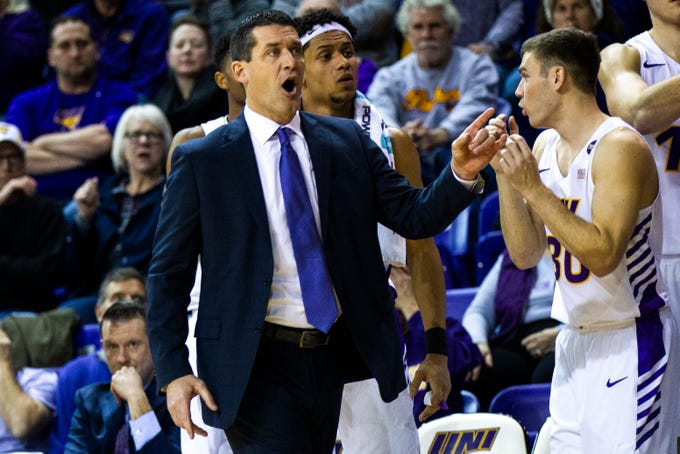 Northern Iowa head coach Ben Jacobson reacts to a call during a NCAA Missouri Valley Conference men's basketball game on Saturday, Jan. 5, 2019, at the McLeod Center in Cedar Falls, Iowa.