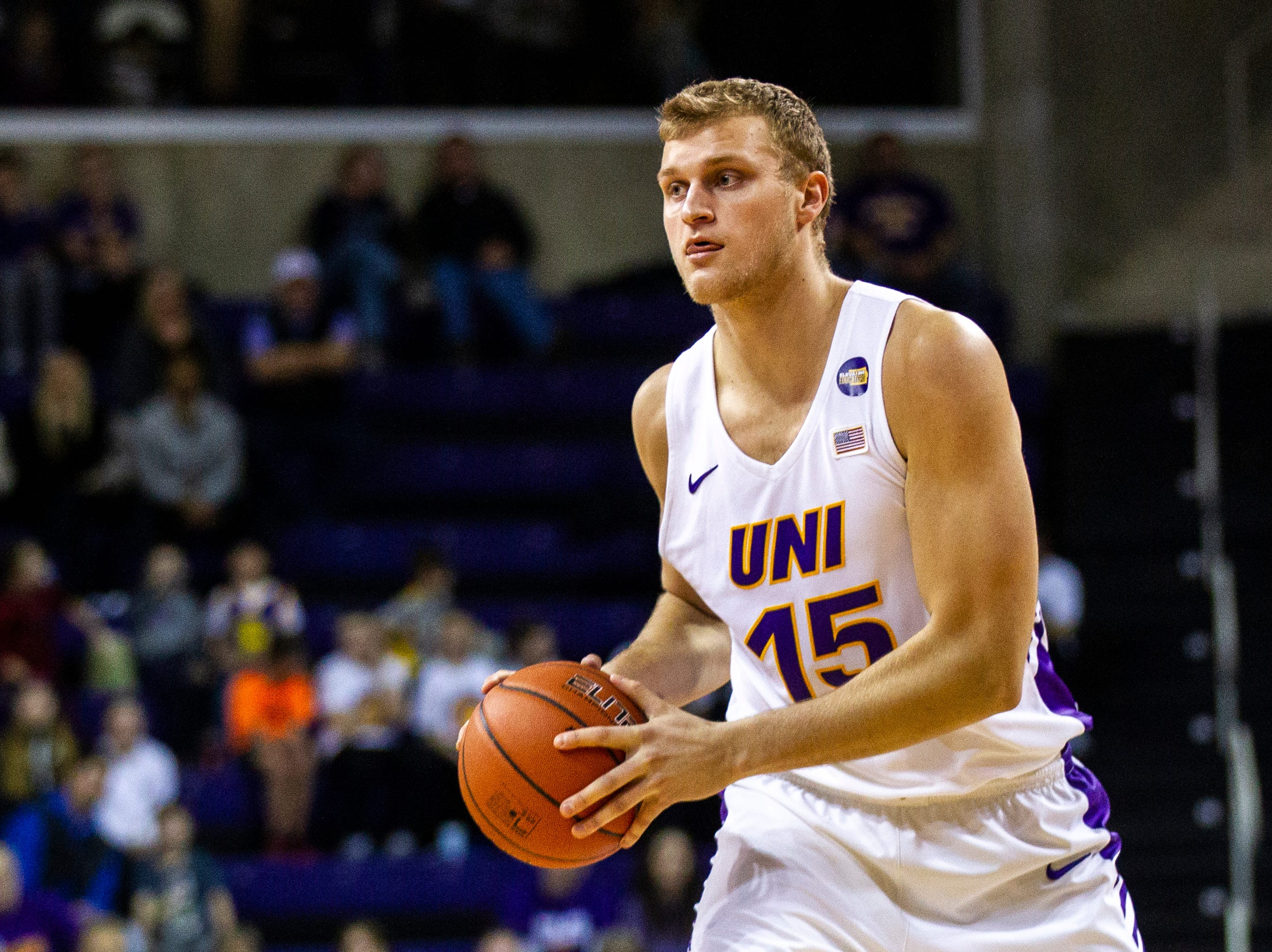 Northern Iowa center Justin Dahl (15) looks to pass during a NCAA Missouri Valley Conference men's basketball game on Saturday, Jan. 5, 2019, at the McLeod Center in Cedar Falls, Iowa.
