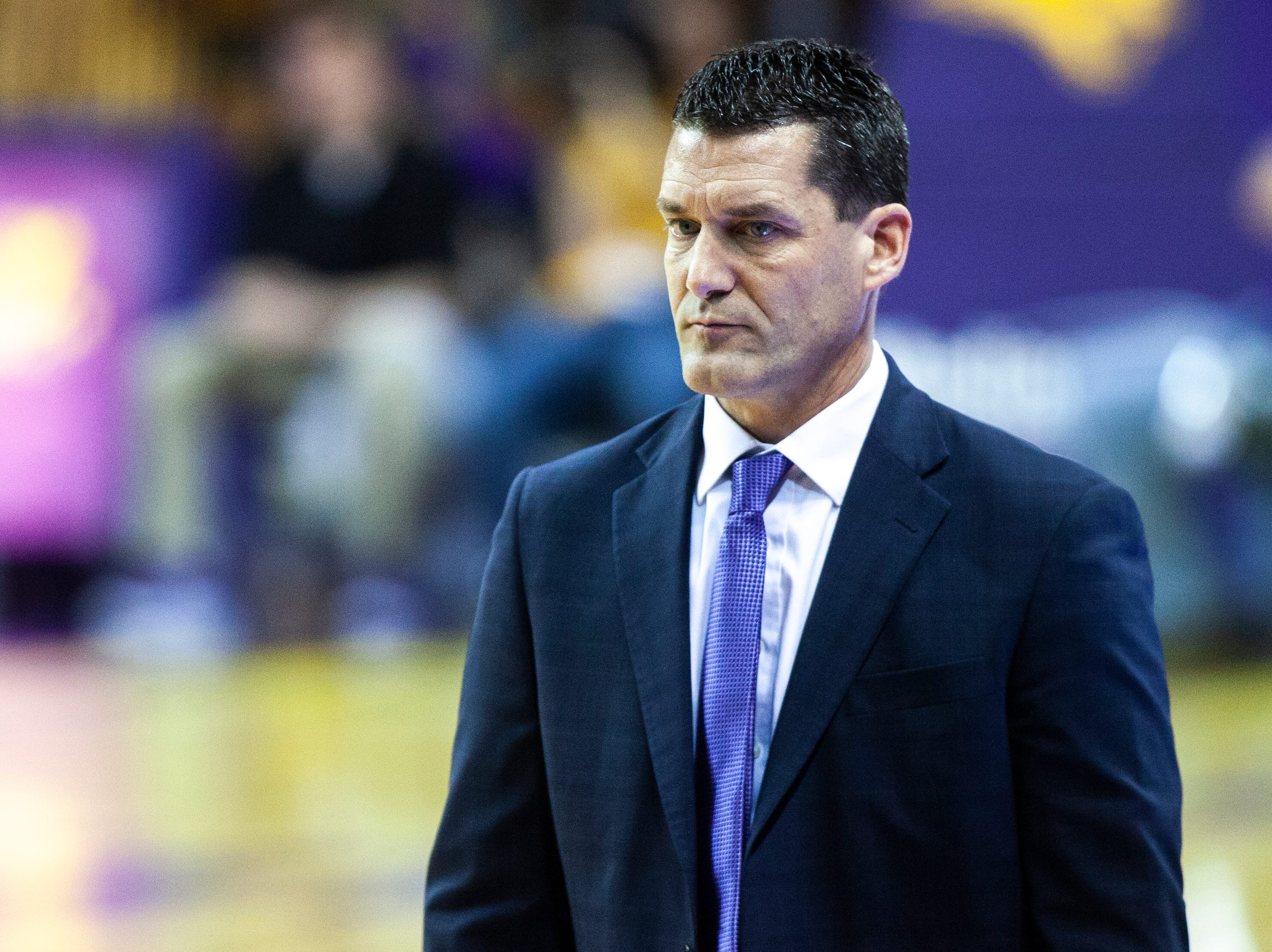 Northern Iowa head coach Ben Jacobson walks the baseline during a NCAA Missouri Valley Conference men's basketball game on Saturday, Jan. 5, 2019, at the McLeod Center in Cedar Falls, Iowa.