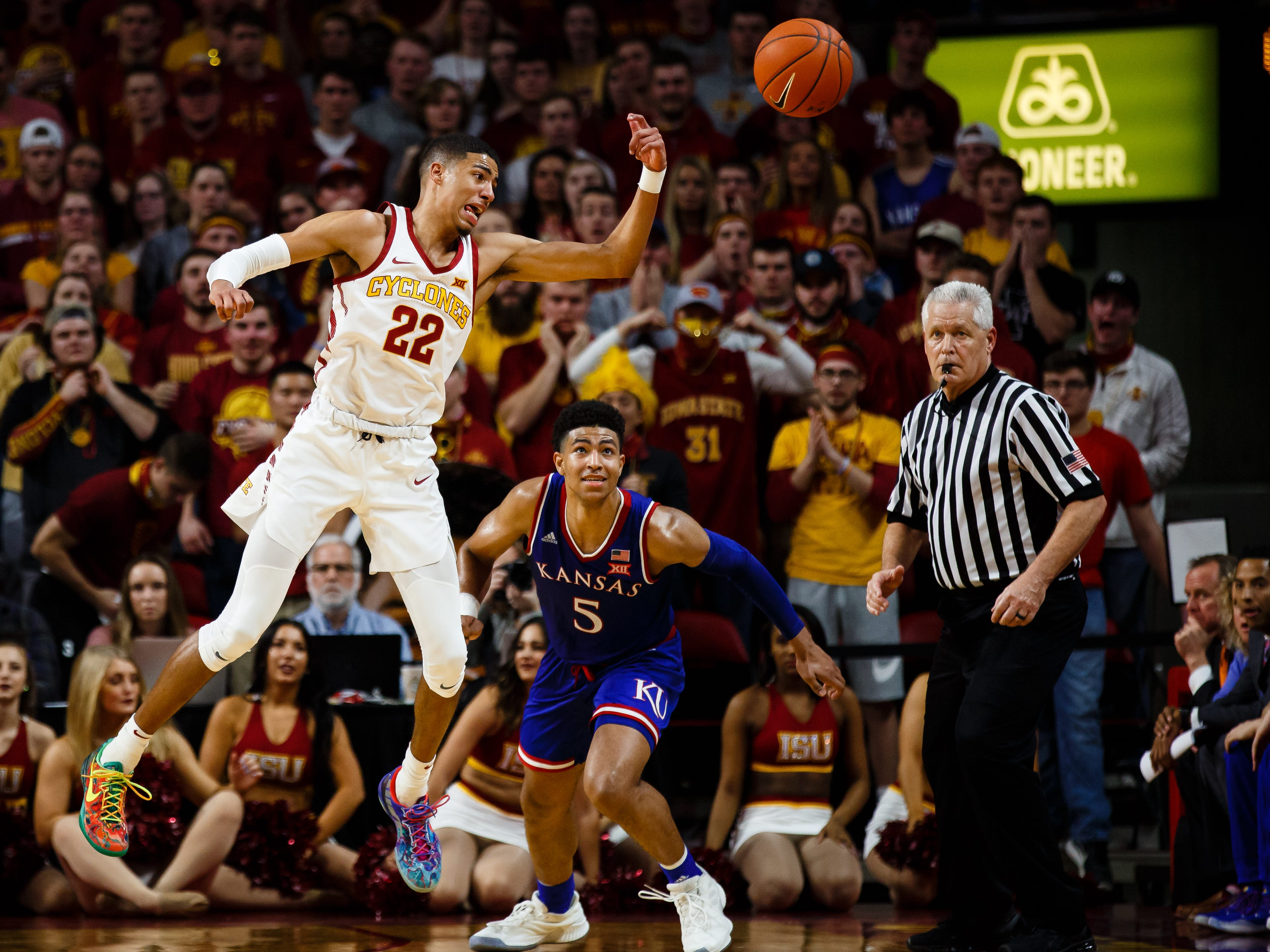 Iowa State's Tyrese Haliburton (22) intercepts a pass during the second half of their basketball game on Saturday, Jan. 5, 2019, in Ames. Iowa State would go on to beat Kansas 77-60.