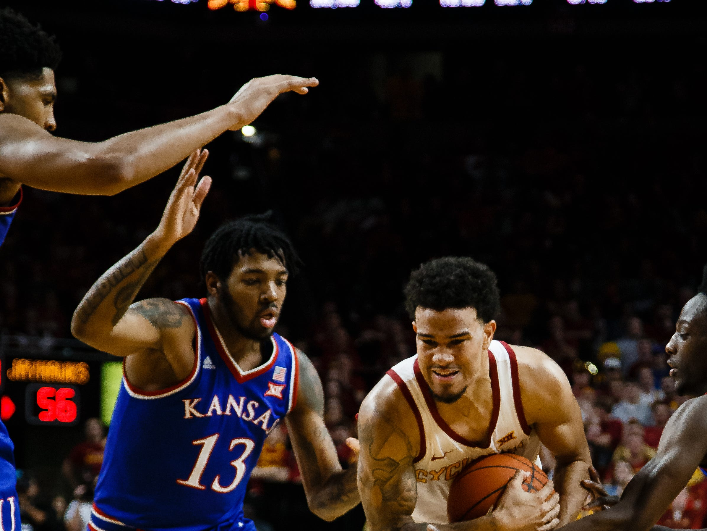 Iowa State's Nick Weiler-Babb (1) drives to the net during the second half of their basketball game on Saturday, Jan. 5, 2019, in Ames. Iowa State would go on to beat Kansas 77-60.