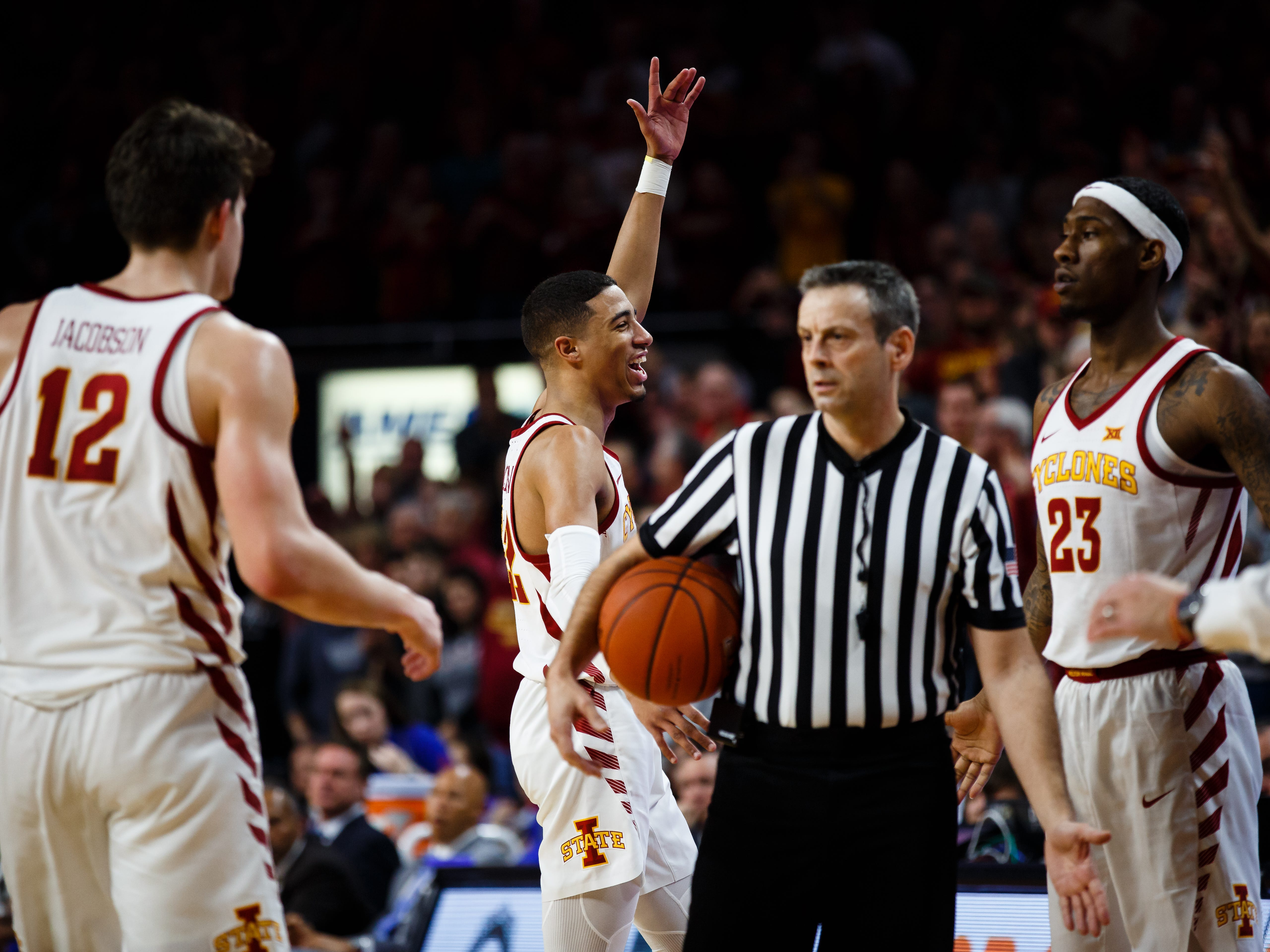 Iowa State's Tyrese Haliburton (22) during the second half of their basketball game on Saturday, Jan. 5, 2019, in Ames. Iowa State would go on to beat Kansas 77-60.