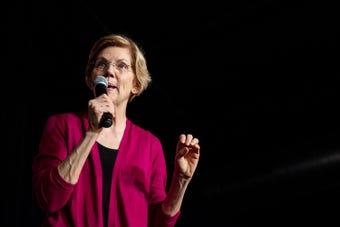 Sen. Elizabeth Warren tells a crowd in Des Moines that she doesn't take PAC money of any kind, on Jan. 5, 2019.