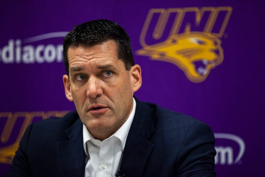Northern Iowa head coach Ben Jacobson talks with reporters after a NCAA Missouri Valley Conference men's basketball game on Saturday, Jan. 5, 2019, at the McLeod Center in Cedar Falls, Iowa.