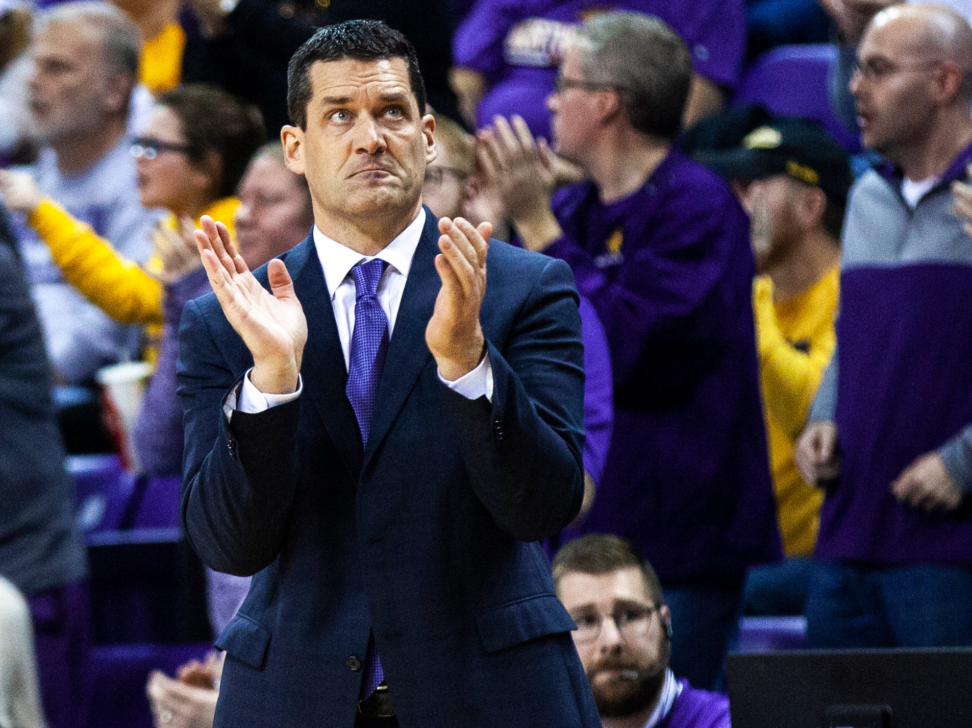 Northern Iowa head coach Ben Jacobson claps during a NCAA Missouri Valley Conference men's basketball game on Saturday, Jan. 5, 2019, at the McLeod Center in Cedar Falls, Iowa.