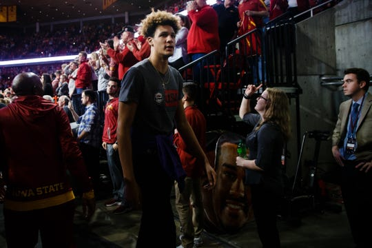 Basketball recruit Xavier Foster walks into the tunnel after the second half of the Iowa State game on Saturday, Jan. 5, 2019, in Ames. Iowa State would go on to beat Kansas 77-60.