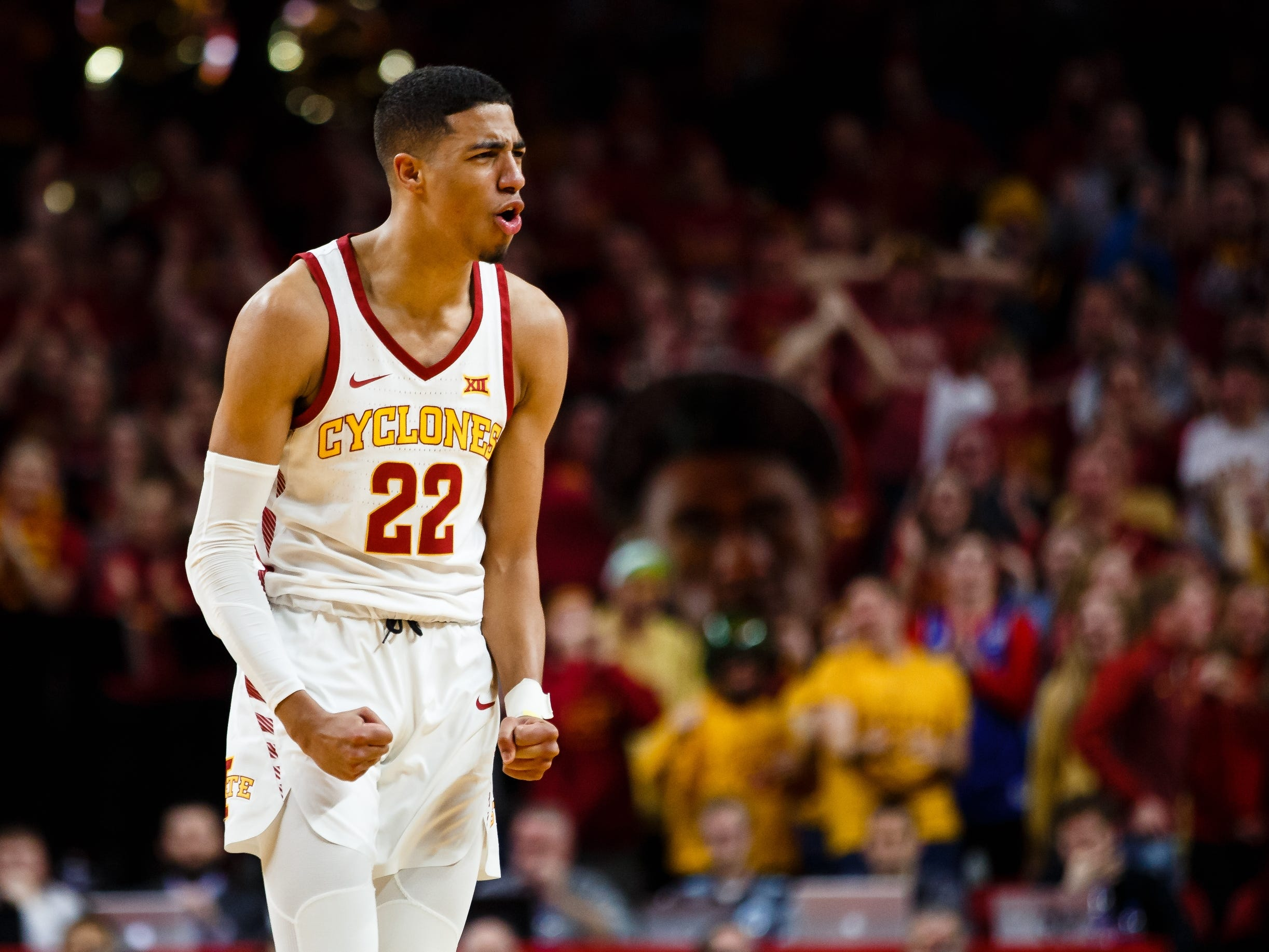 Iowa State's Tyrese Haliburton (22) celebrates during the second half of their basketball game on Saturday, Jan. 5, 2019, in Ames. Iowa State would go on to beat Kansas 77-60.