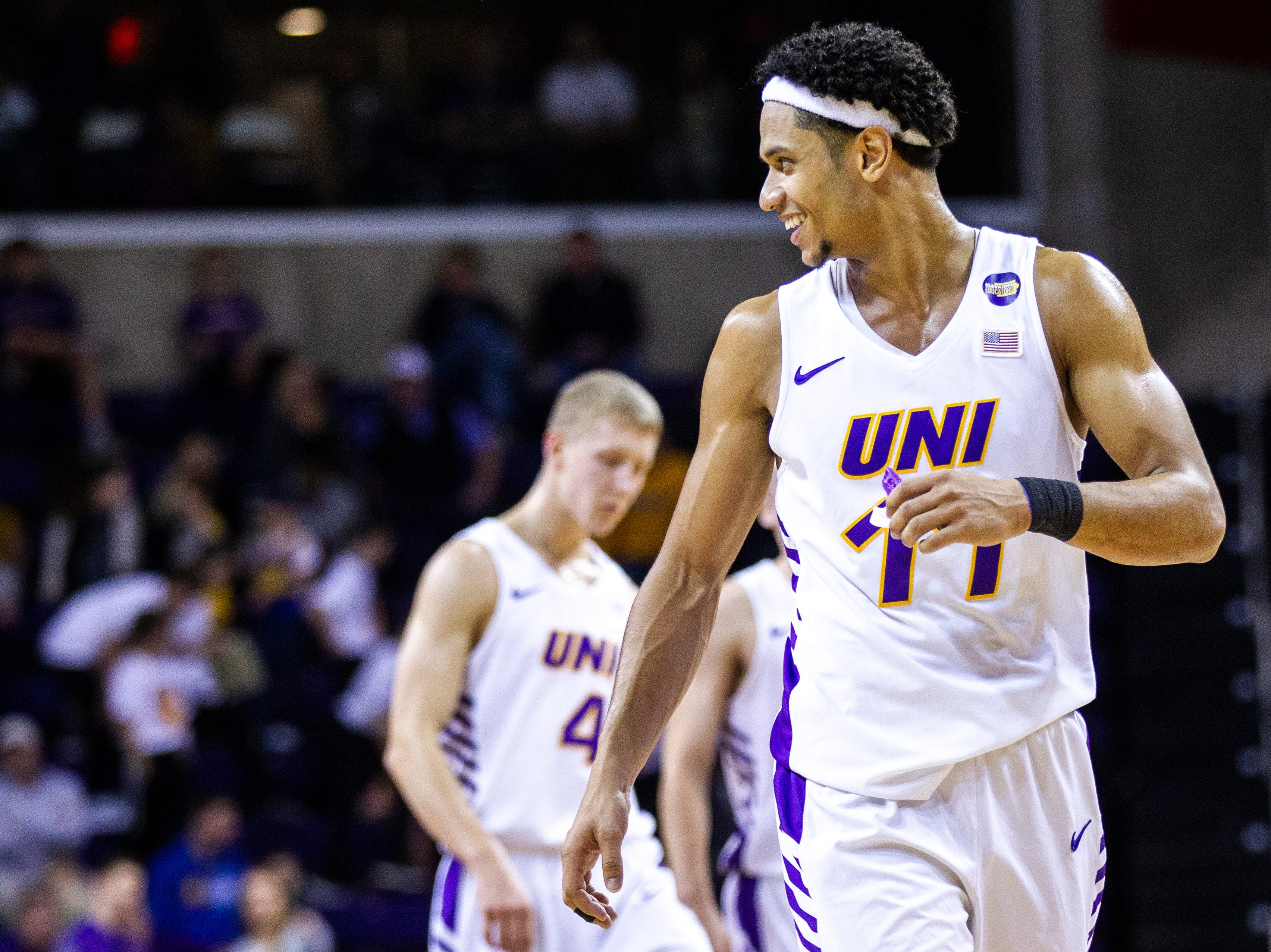 Northern Iowa guard Trae Berhow (11) smiles while checking into a game during a NCAA Missouri Valley Conference men's basketball game on Saturday, Jan. 5, 2019, at the McLeod Center in Cedar Falls, Iowa.