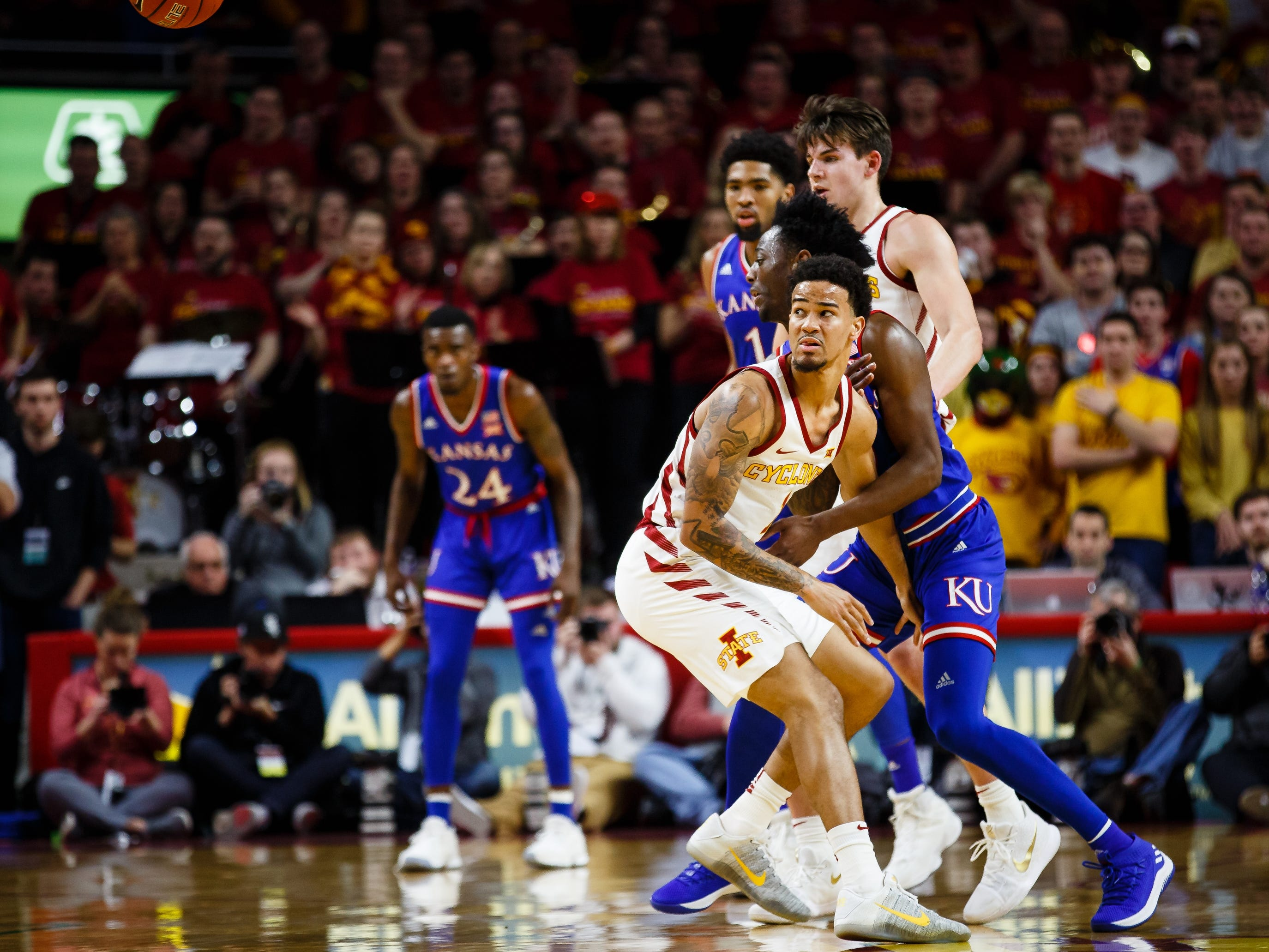 Iowa State's Nick Weiler-Babb (1) looks after a loose ball during the first half of their basketball game on Saturday, Jan. 5, 2019, in Ames. Iowa State would go on to defeat Kansas 77-60.